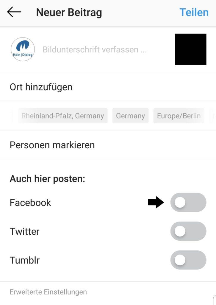 Facebook Unternehmensseite mit meinem Instagram-Konto in Facebook?