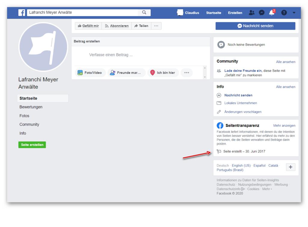 automatisch erstellte Facebookseite für Unternehmen