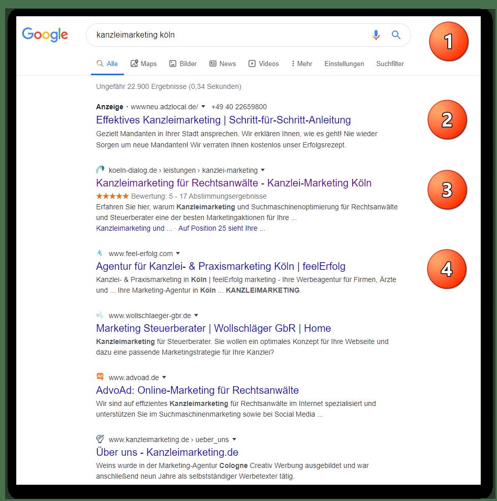 Google-Sterne in Websuche darstellen Google-Sterne in Suchergebnissen